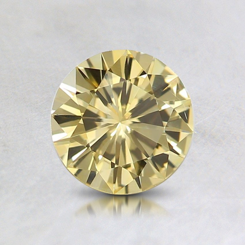 6mm Unheated Yellow Round Sapphire, top view