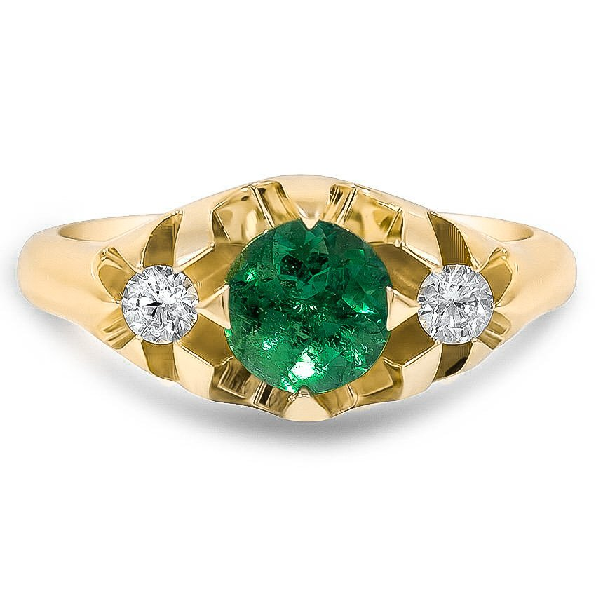 Custom Vintage Inspired Emerald and Diamond Three Stone Ring