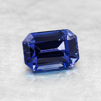 6X4mm Premium Blue Emerald Cut Sapphire, top view