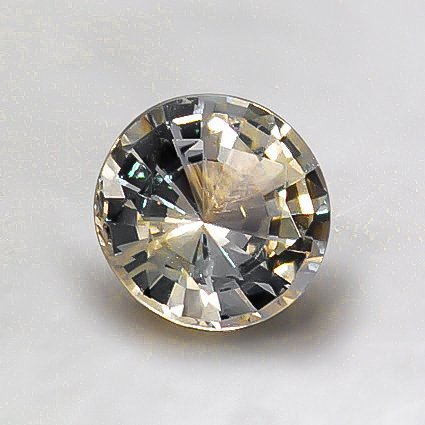 6mm Light Yellow Round Sapphire, top view