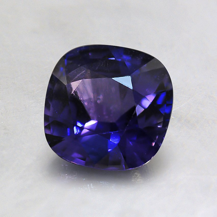 6mm Purple Cushion Sapphire, top view
