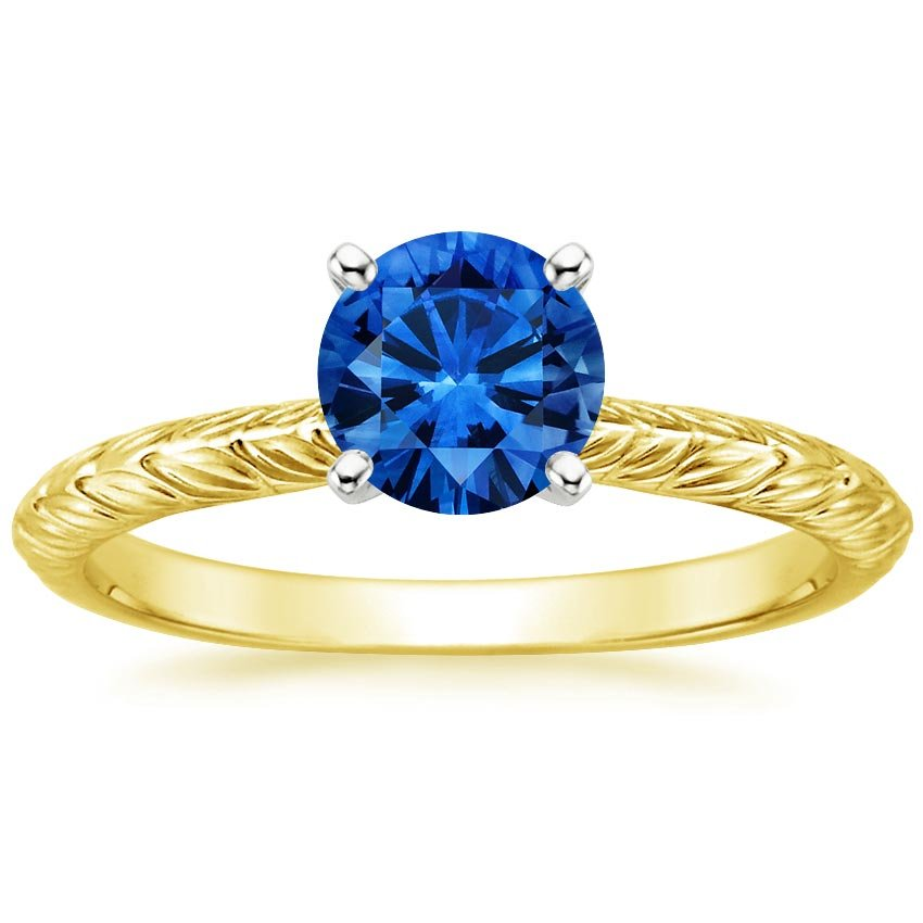18K Yellow Gold Sapphire Garland Ring, top view