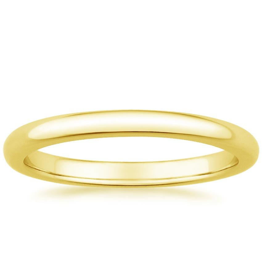 18K Yellow Gold 2mm Comfort Fit Wedding Ring, top view