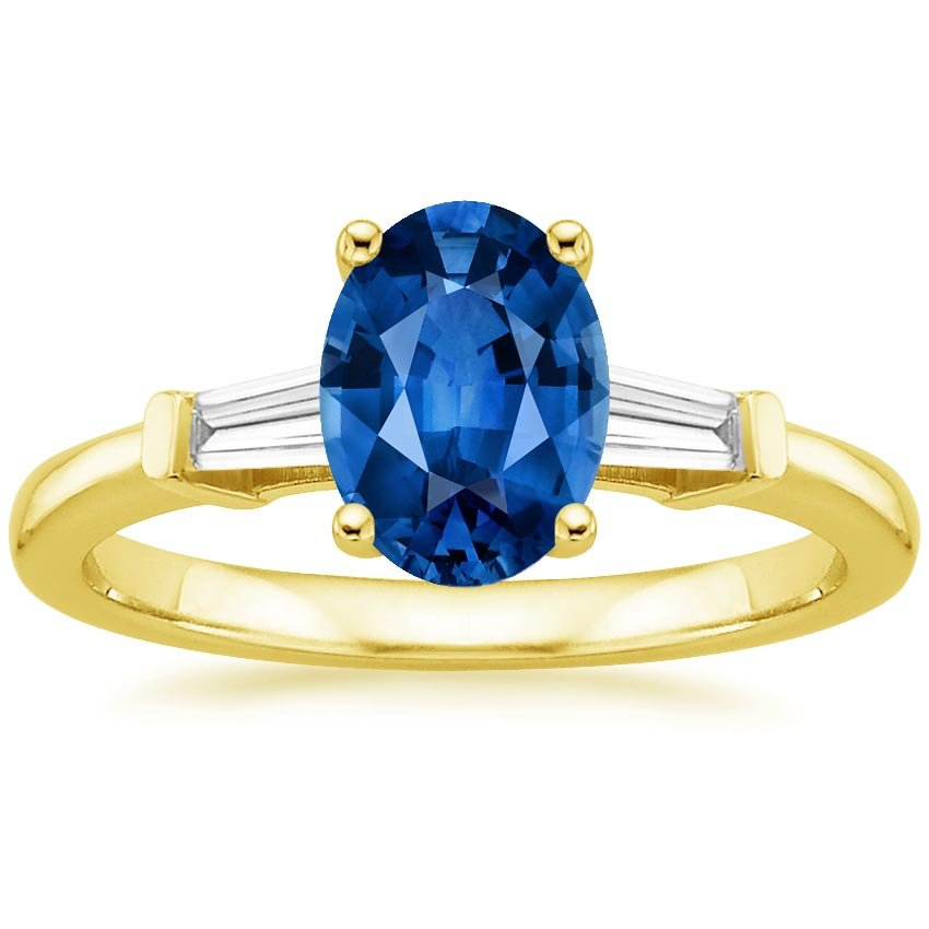 18K Yellow Gold Sapphire Tapered Baguette Diamond Ring, top view