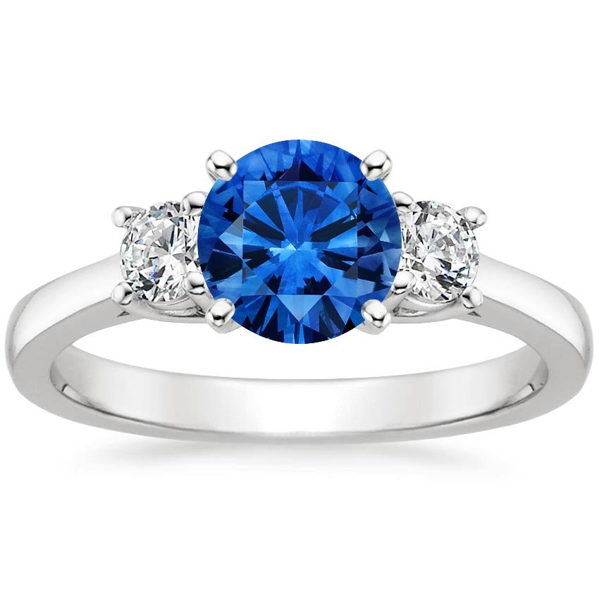 Top Twenty Sapphire Rings - SAPPHIRE PETITE THREE STONE TRELLIS RING (1/3 CT. TW.)