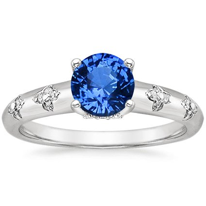 Sapphire Blossom Ring in Platinum with 6mm Round Blue Sapphire