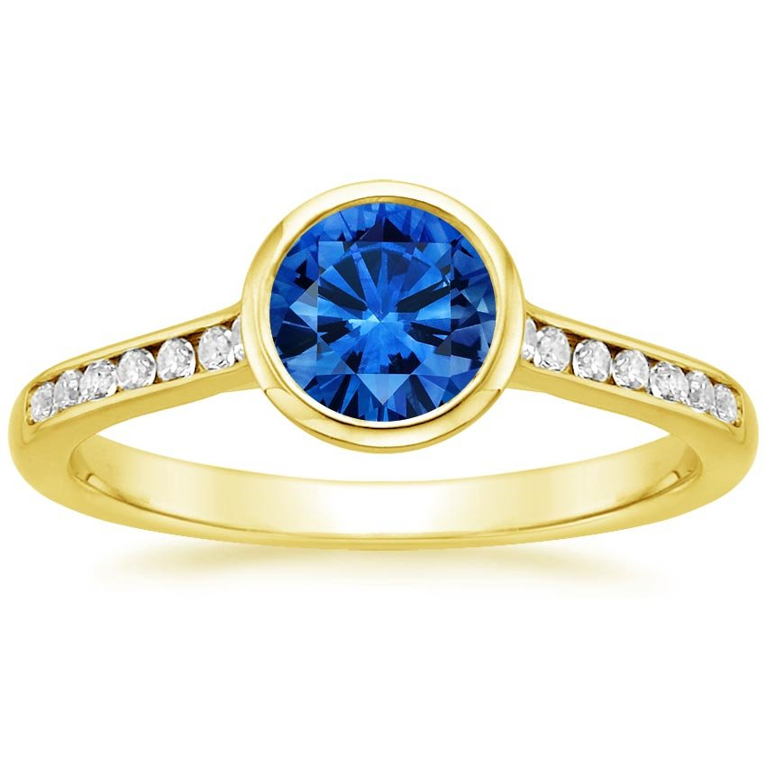 18K Yellow Gold Sapphire Luxe Luna Diamond Ring, top view