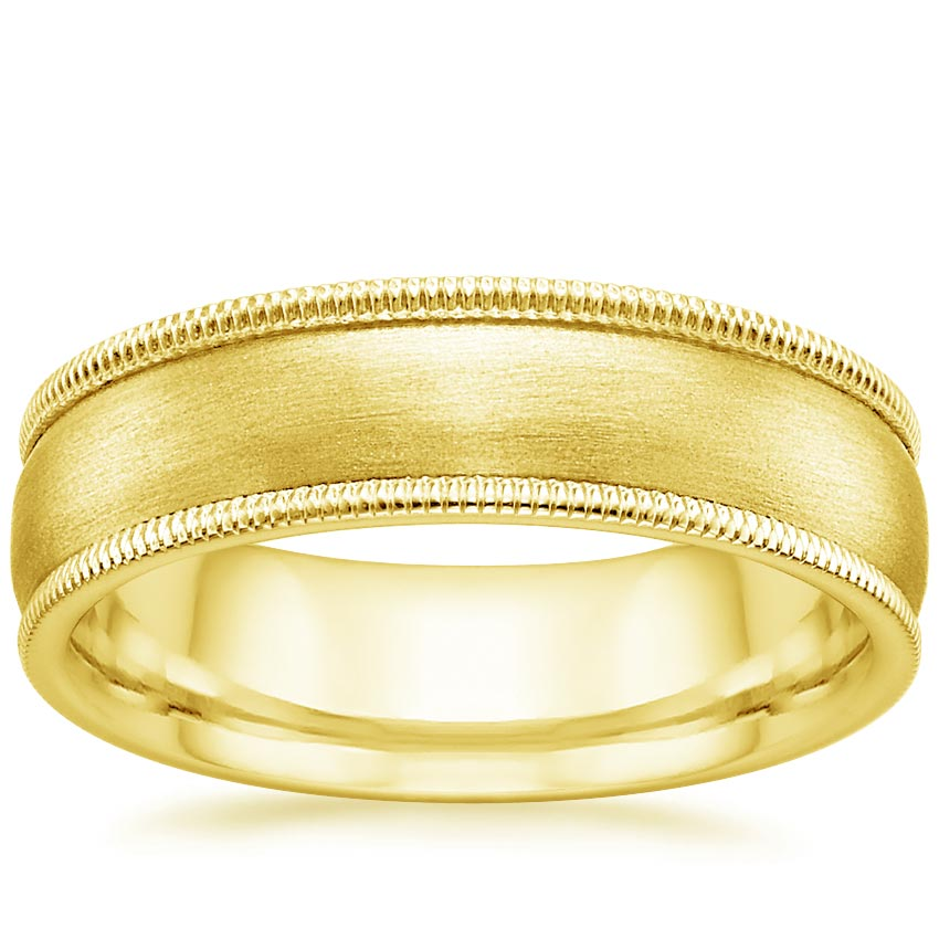 18K Yellow Gold 6mm Milgrain Matte Wedding Ring, top view