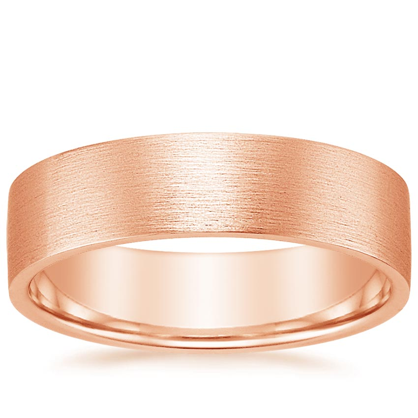 14K Rose Gold 6mm Flat Matte Comfort Fit Wedding Ring, top view