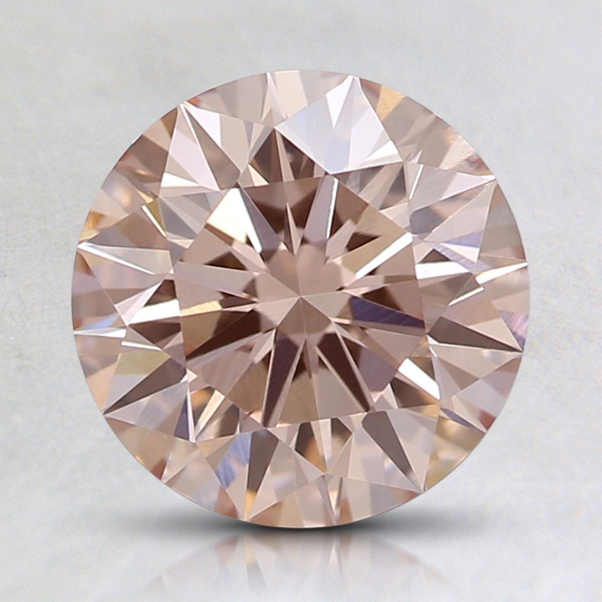 1.71 Ct. Fancy Light Orangy Pink Round Lab Created Diamond
