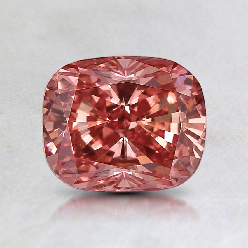 1.30 Ct. Lab Created Fancy Vivid Pink Cushion Diamond, top view