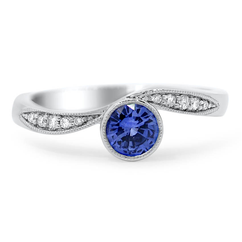 Custom Bezel Set Diamond And Sapphire Rings Brilliant Earth