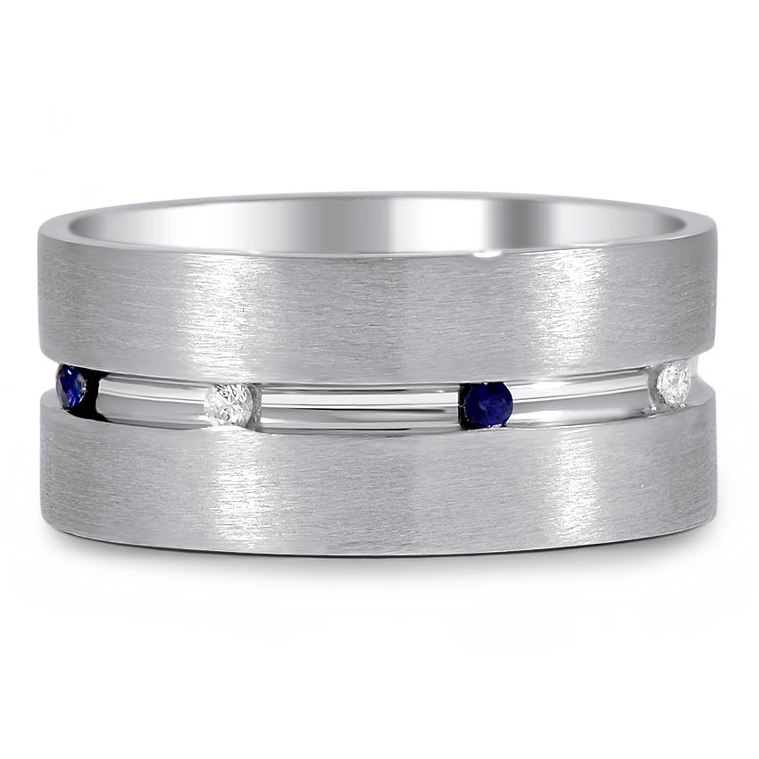 Custom Wide Sapphire and Diamond Mixed Finish Ring
