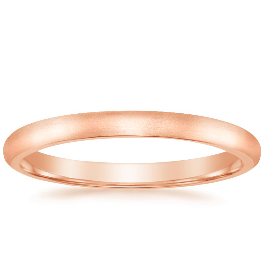 Rose Gold 2mm Matte Comfort Fit Wedding Ring