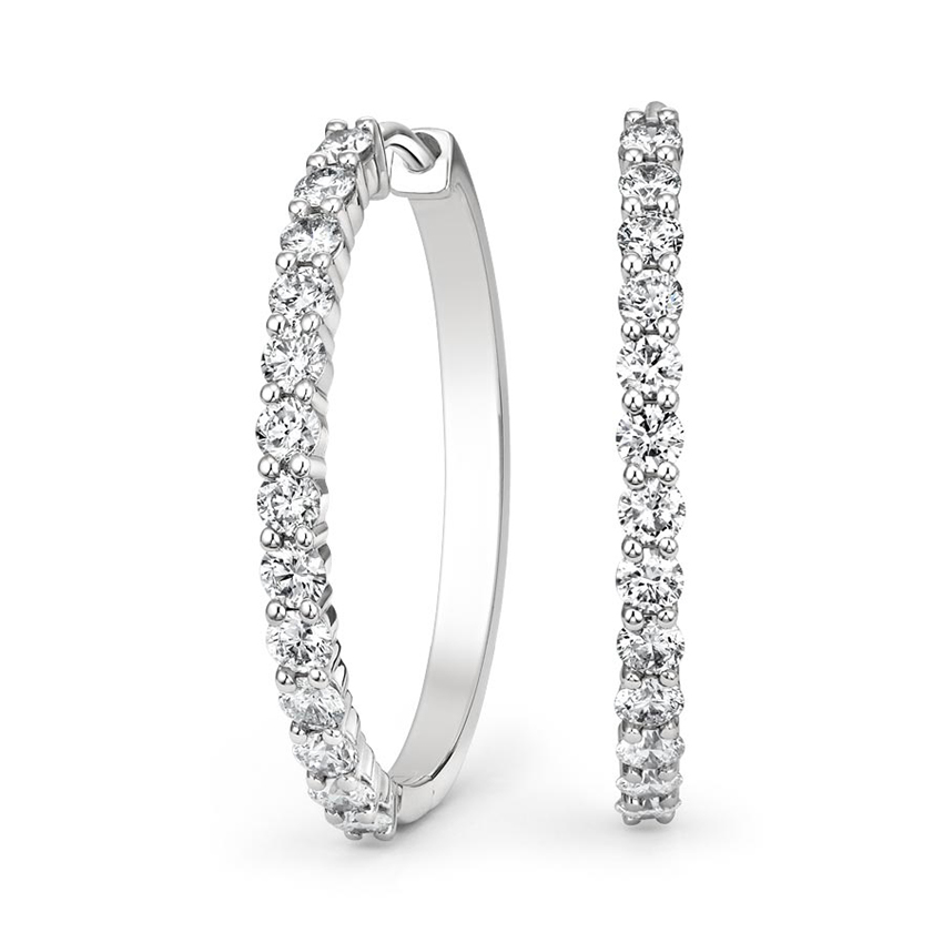 Luxe Shared Prong Diamond Hoop Earrings (1 ct. tw.) in 18K White Gold
