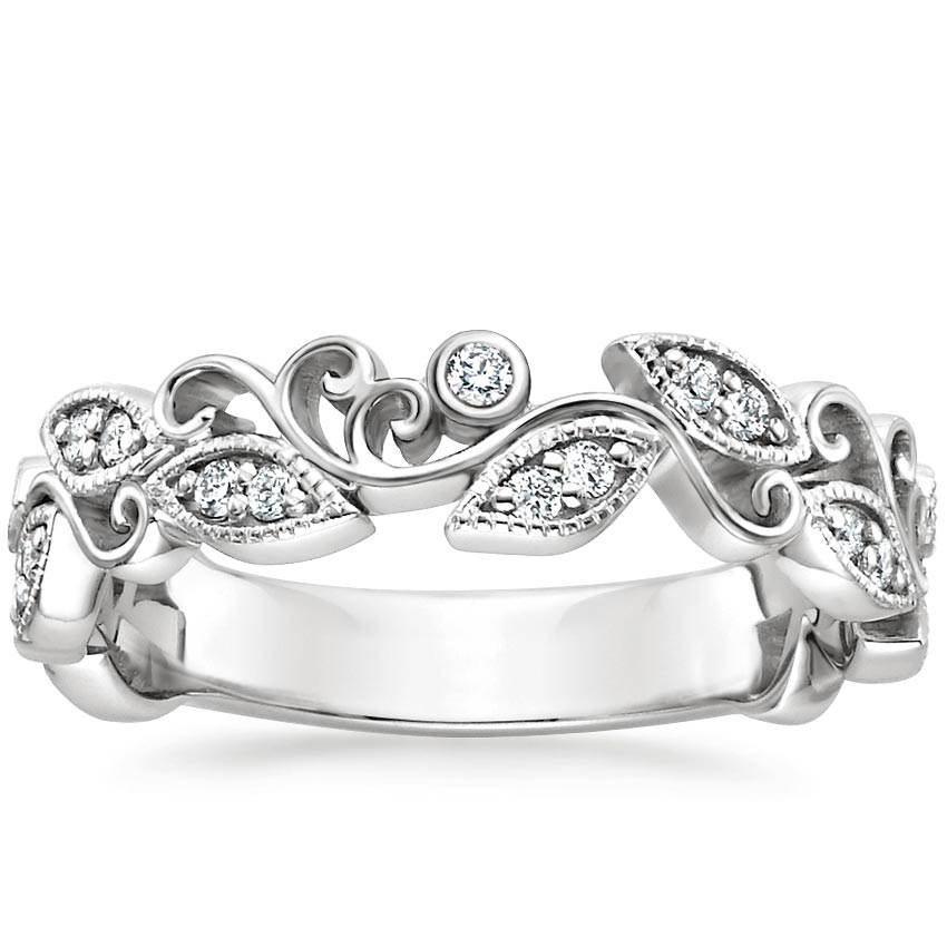 18K White Gold Ivy Scroll Diamond Ring, top view