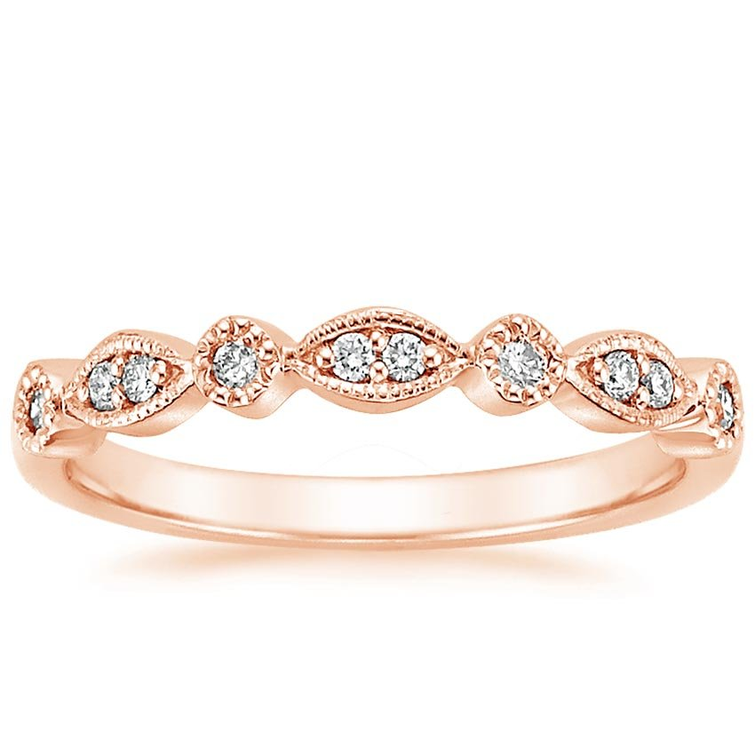 14K Rose Gold Tiara Diamond Ring (1/8 ct. tw.), top view