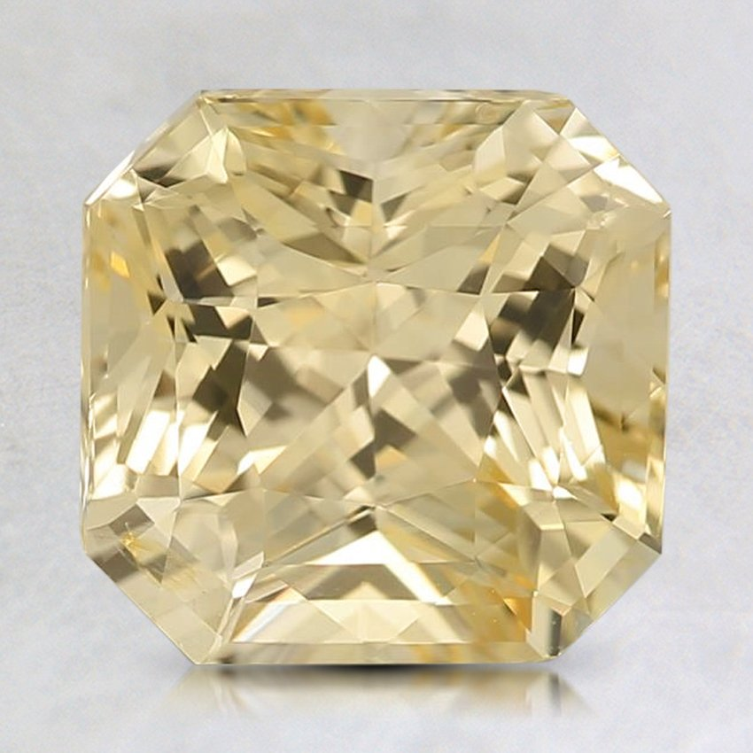 8X7.8mm Yellow Radiant Sapphire, top view