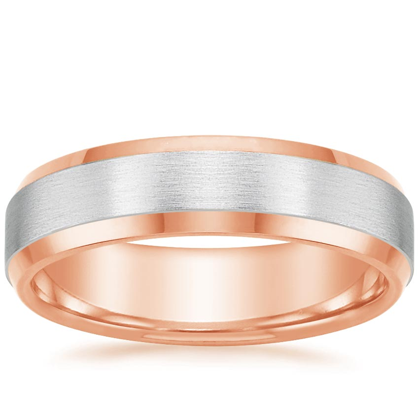 Rose Gold Mixed Metal Men's Ring