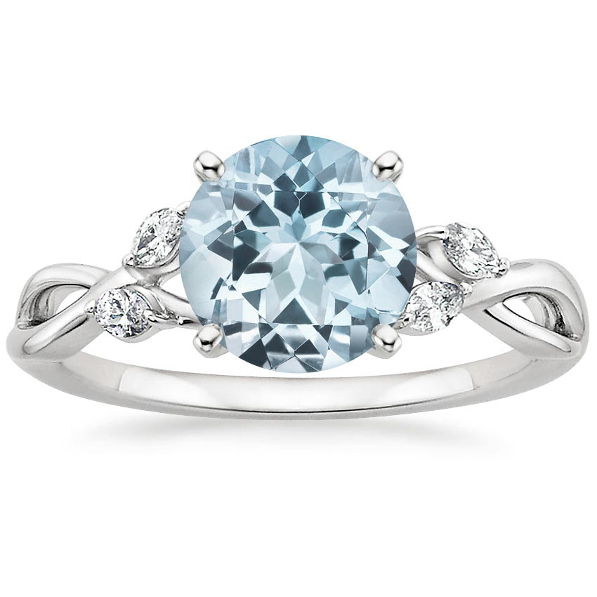 aquamarine willow diamond ring 1 8 ct tw in 18k white gold. Black Bedroom Furniture Sets. Home Design Ideas