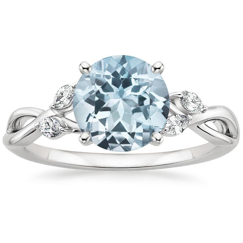 Aquamarine Rings Rose Gold  Stone White Sapphires