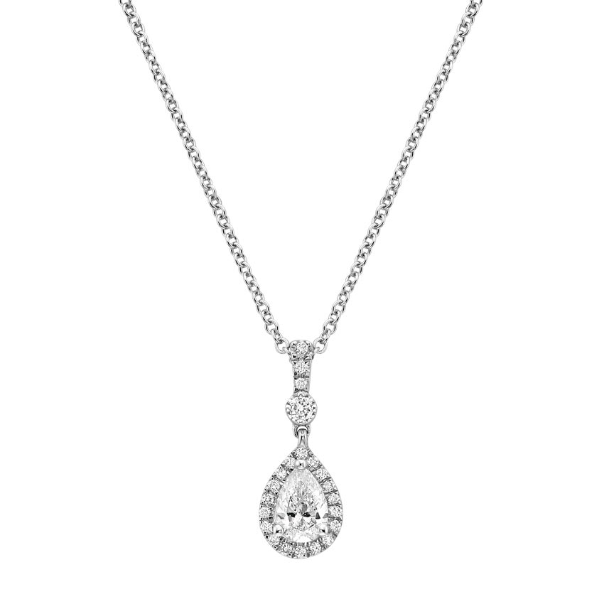 Pear Halo Diamond Necklace