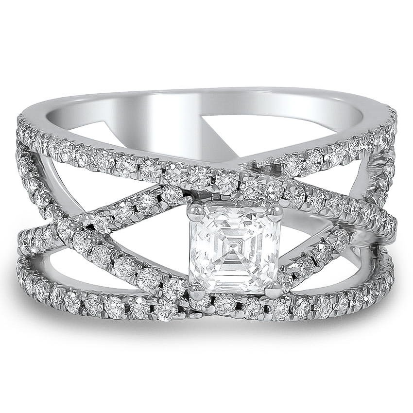Custom Criss Cross Asscher Cut Diamond Ring