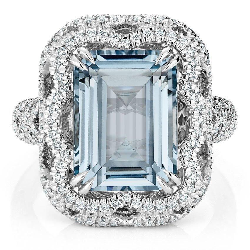 Cirrus Aquamarine And Diamond Ring In Platinum Brilliant