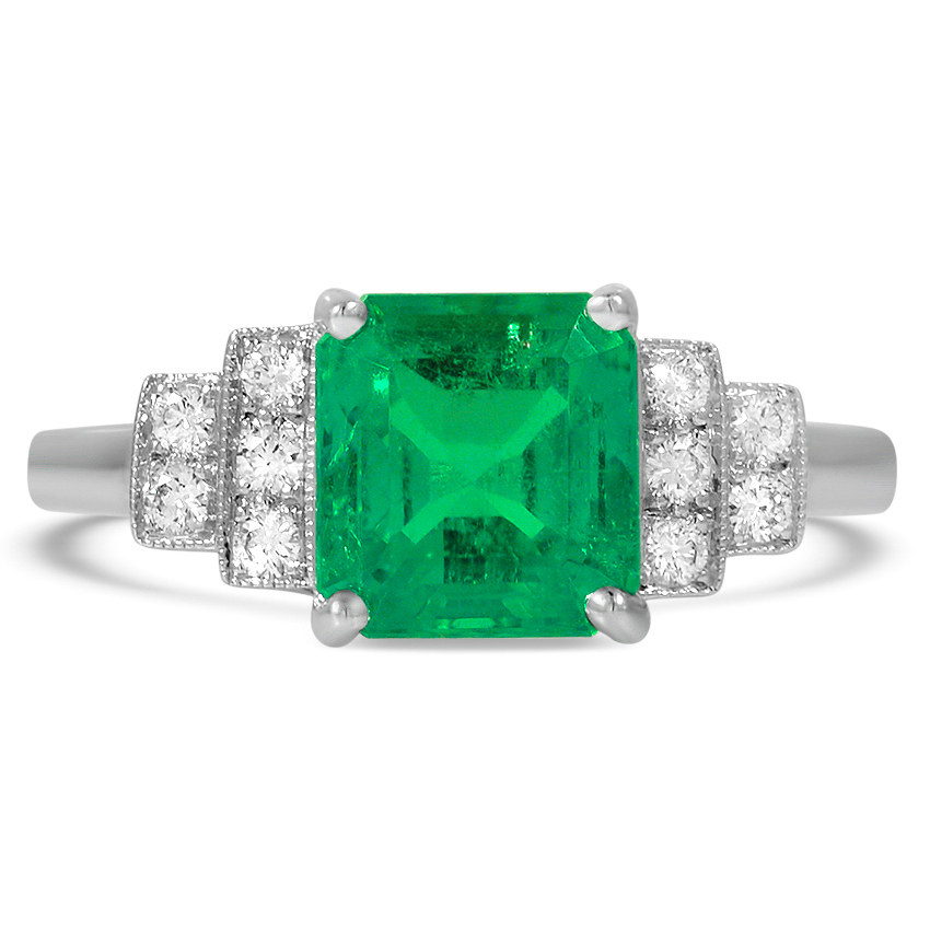 Art Deco Reproduction Emerald Vintage Ring