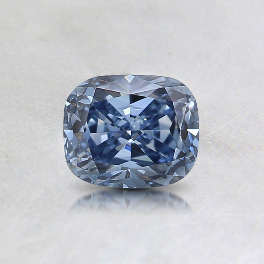 0.53 ct. Lab Created Fancy Vivid Blue Cushion Diamond, top view