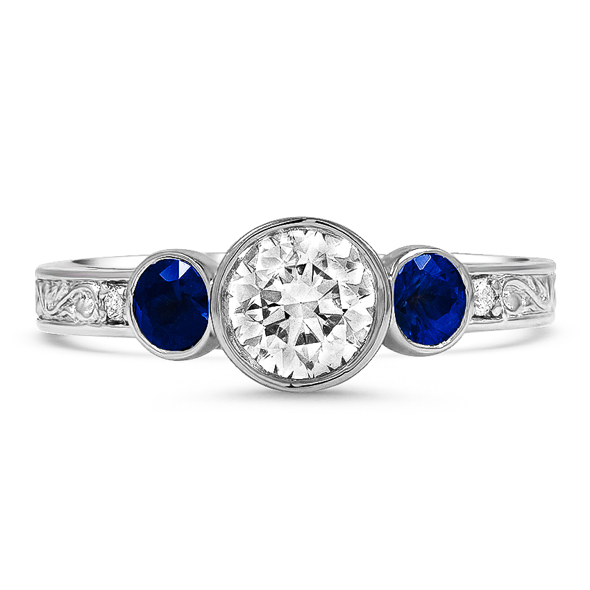 Custom Antique-Inspired Sapphire and Diamond Ring