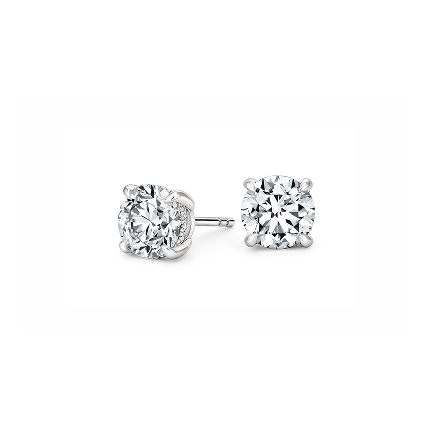 Platinum Secret Halo Diamond Stud Earrings, top view