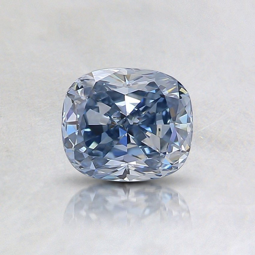 0.57 Ct. Fancy Vivid Blue Cushion Lab Created Diamond