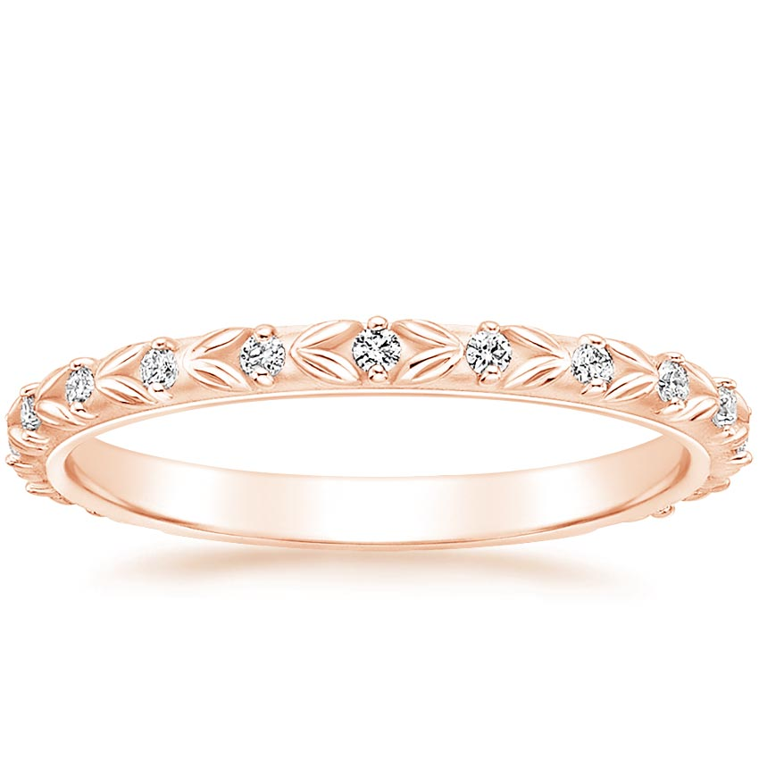 Rose Gold Sculpted Leaf Diamond Ring