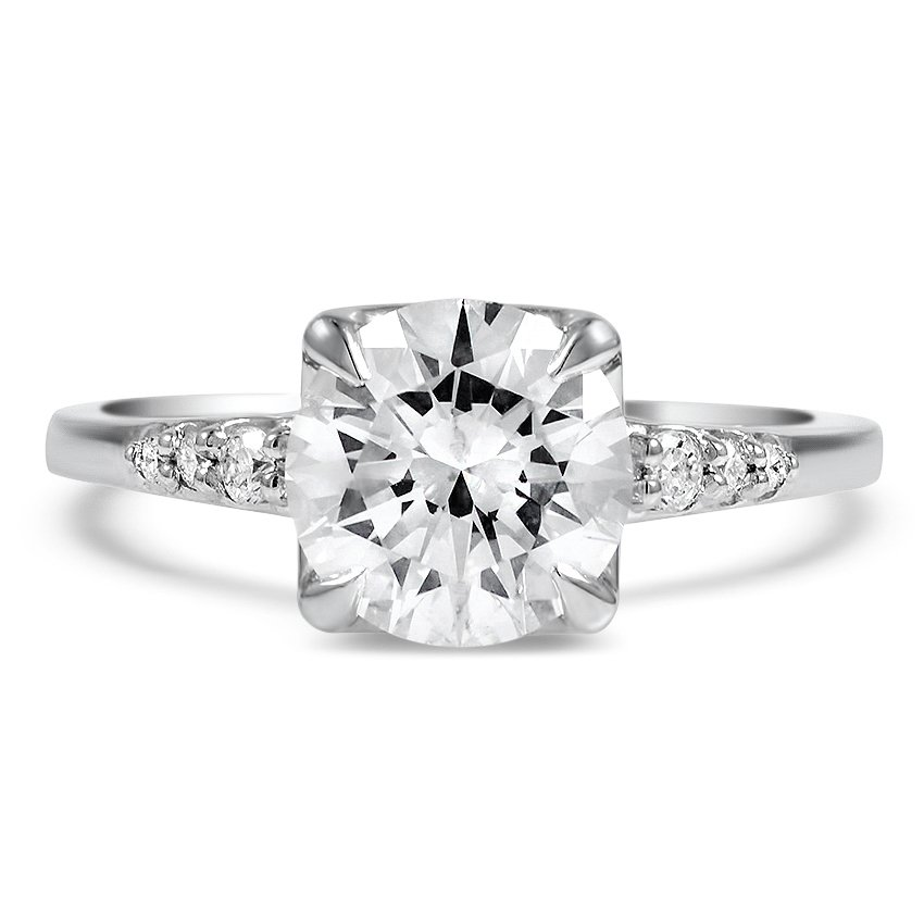 Custom Contemporary Tapered Engagement Diamond Ring