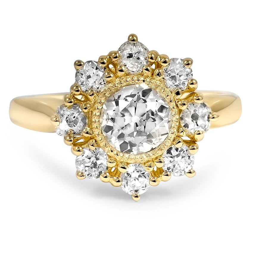 Custom Vintage Style Cluster Halo Diamond Ring