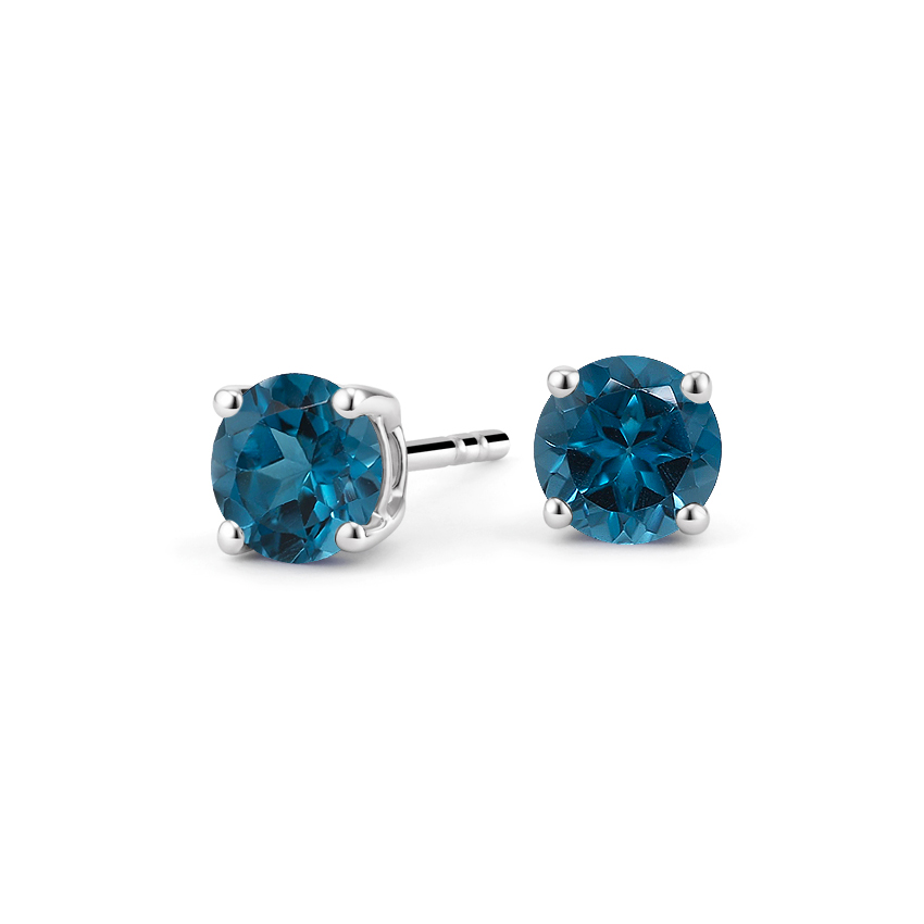 London Blue Topaz Stud Earrings in Silver