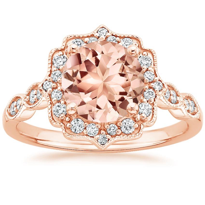 Morganite Cadenza Halo Ring in 14K Rose Gold Brilliant Earth