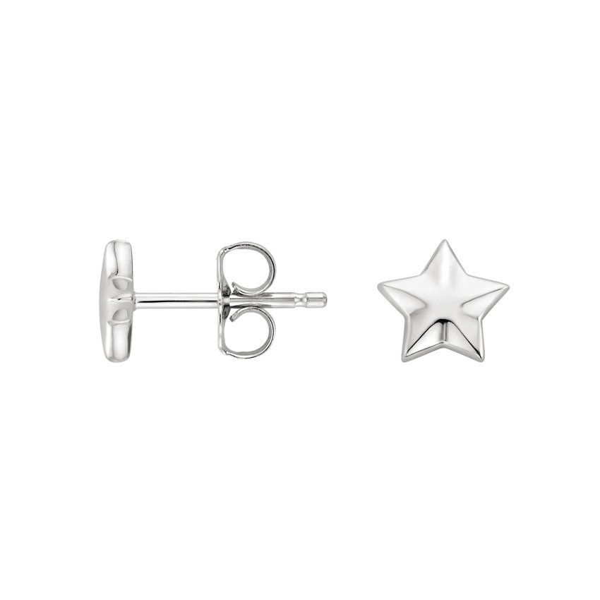 18K White Gold Star Stud Earrings, top view