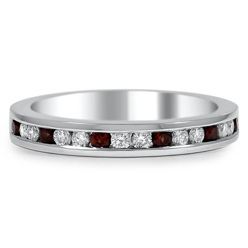 Custom Petite Channel Set Band with Alternating Mozambique Garnet and Diamond Accents
