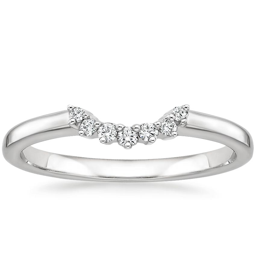 Crescent Diamond Ring in 18K White Gold