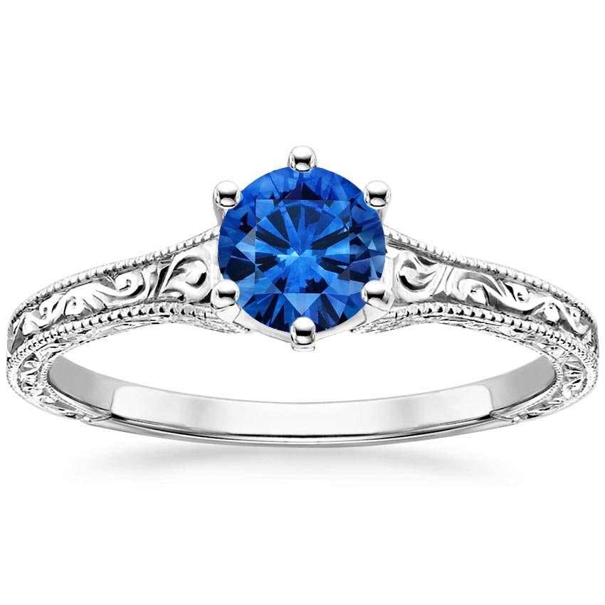 18K White Gold Sapphire Hudson Ring, top view