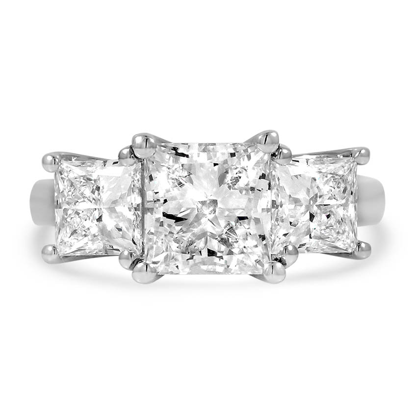 Custom Three Stone Princess Diamond Ring