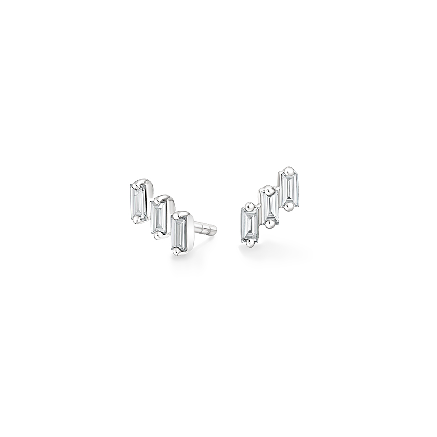 Baguette Climber Diamond Earrings