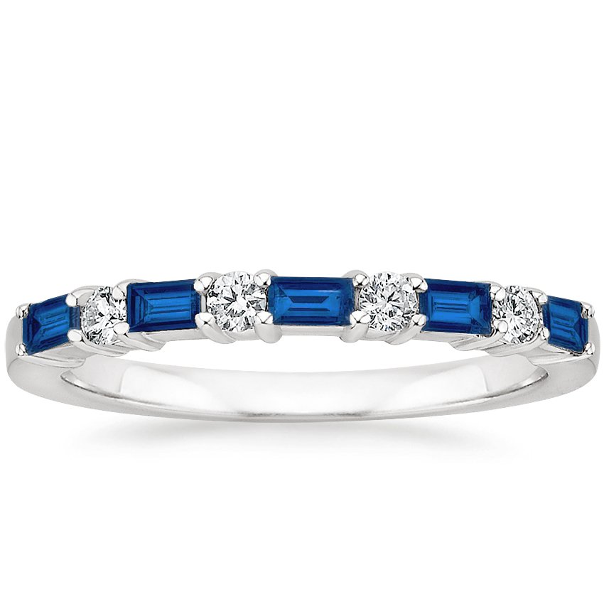 Leona Sapphire and Diamond Ring in 18K White Gold
