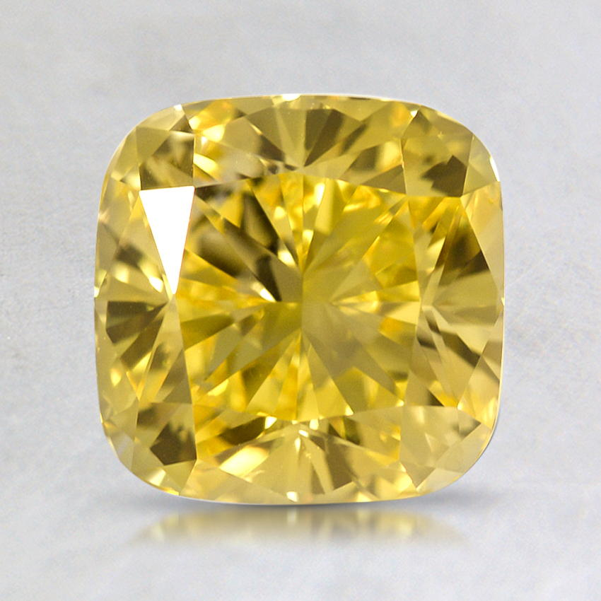 1.92 ct. Lab Created Fancy Vivid Yellow Cushion Diamond, top view