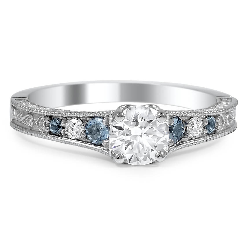 Custom Reverse Taper Diamond and Aquamarine Engagement Ring
