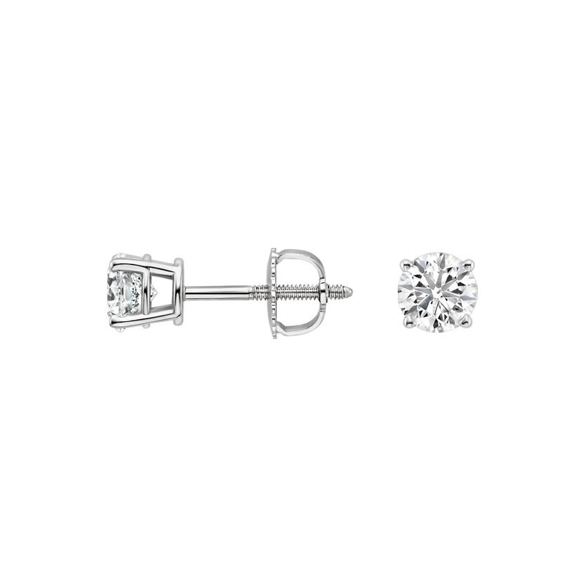 Platinum Round Diamond Stud Earrings (1/2 ct. tw.), top view