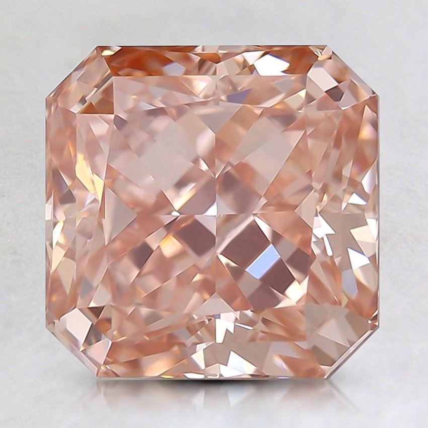 3.02 Ct. Lab Created Fancy Intense Orangy Pink Radiant  Diamond
