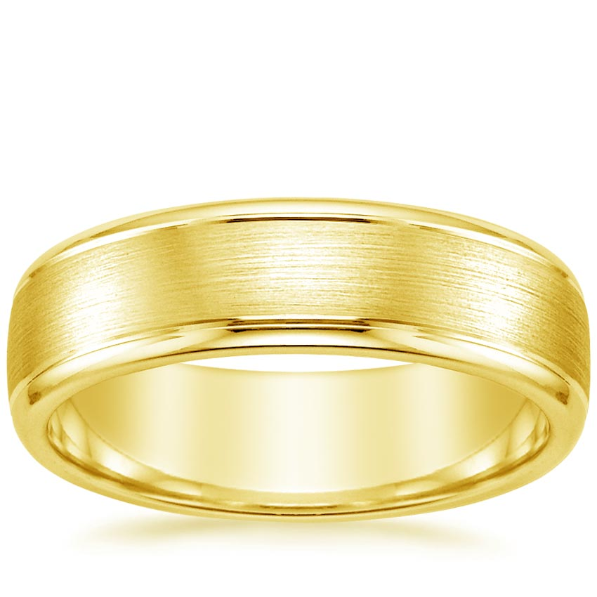 18K Yellow Gold 6mm Beveled Edge Matte Wedding Ring with Grooves, top view